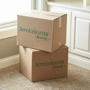 ServiceMaster Restore boxes for packing and moving
