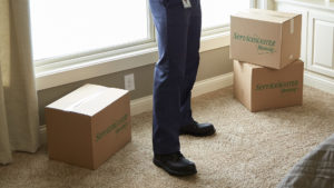 ServiceMaster Restore rep with boxes for packing and moving